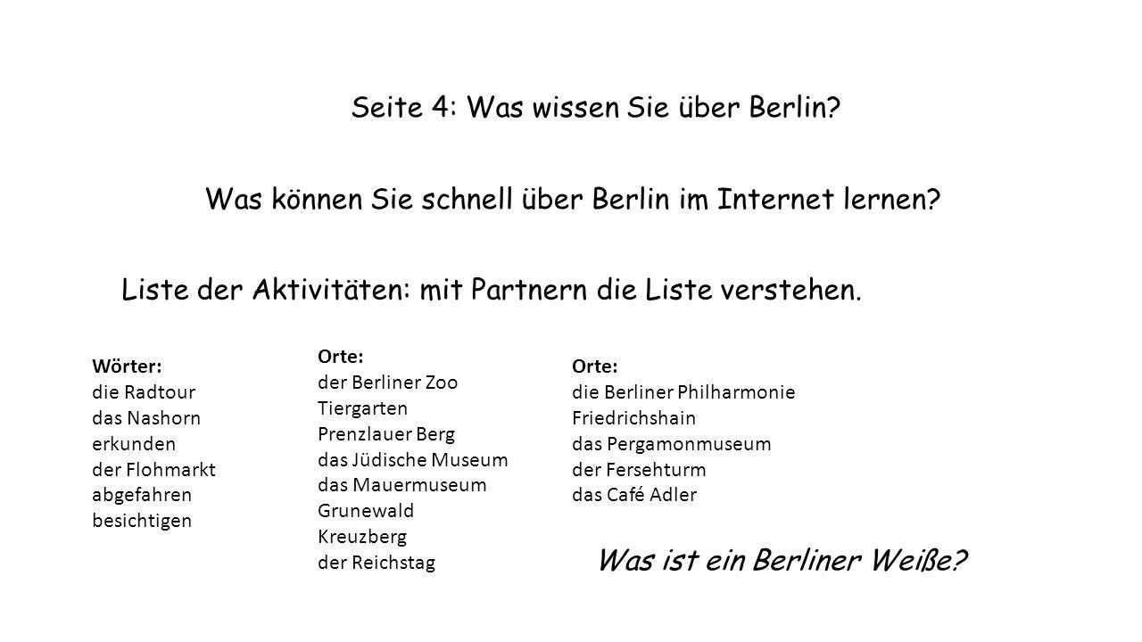 Seite 4: Was wissen Sie über Berlin. Was können Sie schnell über Berlin im Internet lernen.