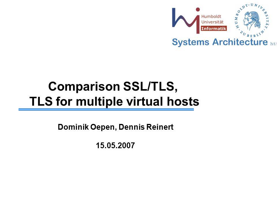 2 May 2006 - 2 Systems Architecture http://sar.informatik.hu-berlin.de Inhalt  Einleitung  Grundlagen  Record Layer  Handshake Protokoll  Vergleich SSL 3.0 und TLS 1.0  TLS Erweiterungen / virtuelle Hosts  Zusammenfassung  Quellenverzeichnis