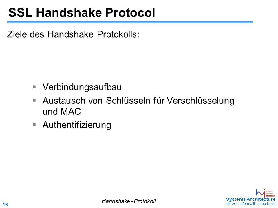 16 May 2006 - 16 Systems Architecture http://sar.informatik.hu-berlin.de SSL Handshake Protocol Ziele des Handshake Protokolls:  Verbindungsaufbau 