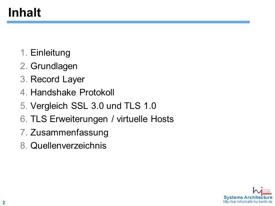 13 May 2006 - 13 Systems Architecture http://sar.informatik.hu-berlin.de Record Layer  neue Ebene in der Protokollhierachie  akzeptiert Folge von Bytes (Bytestrom) von der Anwendung  Fragmentierung des Bytestroms der Applikation in Blöcke (Records)  Komprimierung der Applikationsdaten (optional)  Authentifizierung der Daten durch MAC (Message Authentication Code)  Ver-/Entschlüsselung  mit dem Handshake wird das Schlüsselmaterial zwischen den Partnern vereinbart IP HTTP Netzwerk- schicht TCP Record Layer