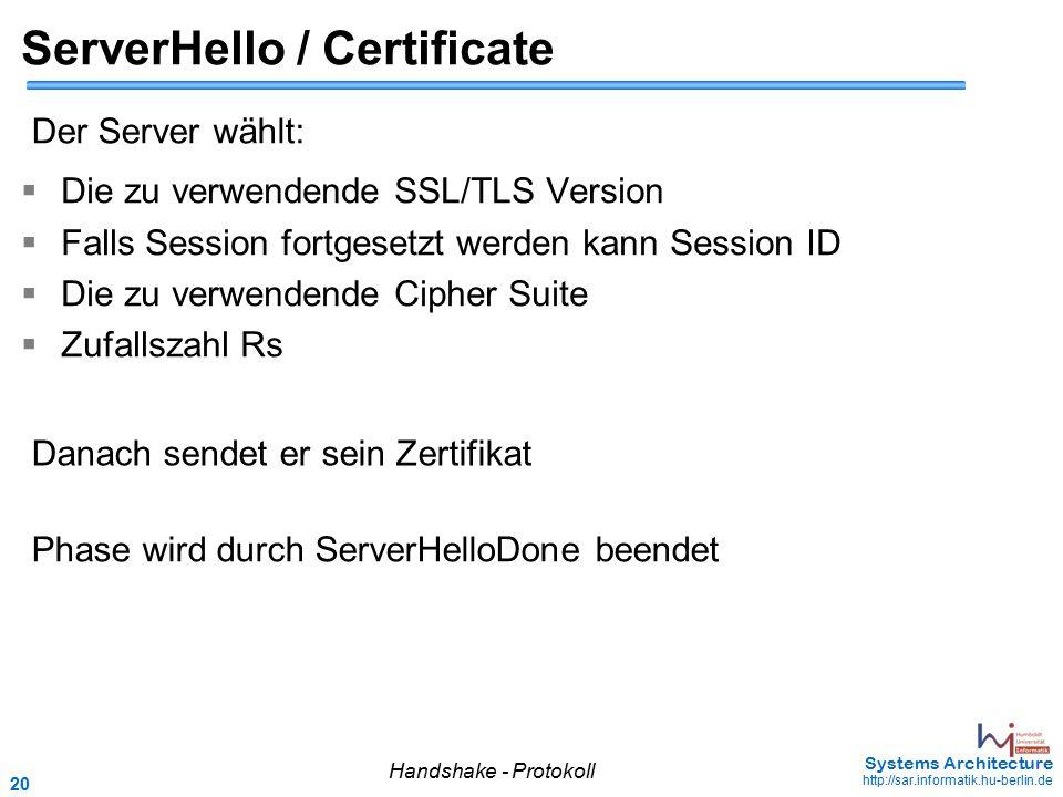 20 May 2006 - 20 Systems Architecture http://sar.informatik.hu-berlin.de ServerHello / Certificate  Die zu verwendende SSL/TLS Version  Falls Sessio