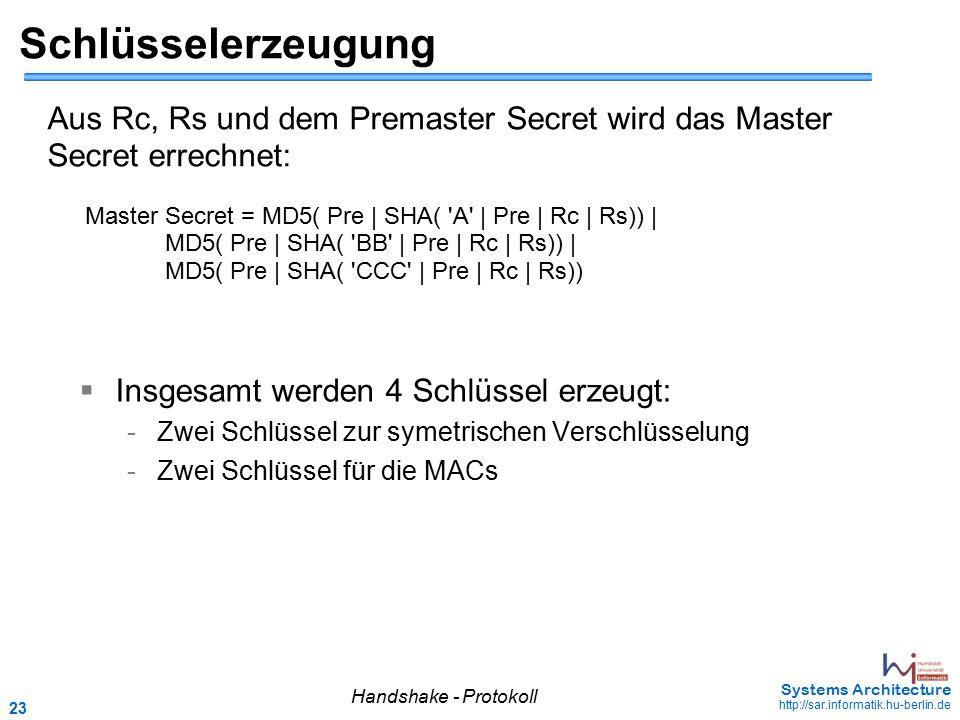 23 May 2006 - 23 Systems Architecture http://sar.informatik.hu-berlin.de Schlüsselerzeugung  Insgesamt werden 4 Schlüssel erzeugt: - Zwei Schlüssel z