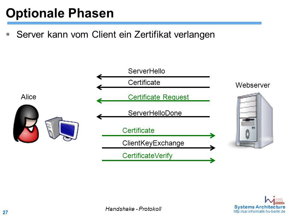27 May 2006 - 27 Systems Architecture http://sar.informatik.hu-berlin.de Optionale Phasen  Server kann vom Client ein Zertifikat verlangen Handshake
