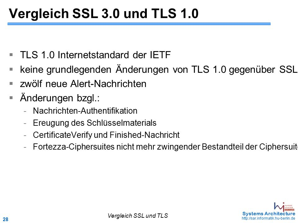 28 May 2006 - 28 Systems Architecture http://sar.informatik.hu-berlin.de Vergleich SSL 3.0 und TLS 1.0  TLS 1.0 Internetstandard der IETF  keine gru
