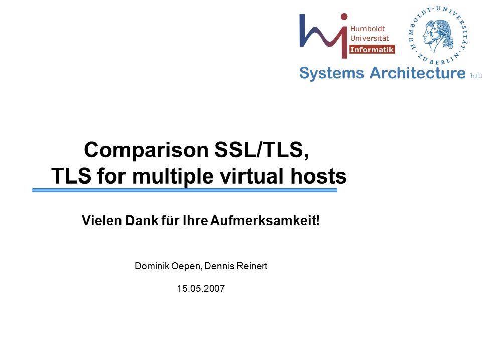 Systems Architecture http://sar.informatik.hu-berlin.de Comparison SSL/TLS, TLS for multiple virtual hosts Vielen Dank für Ihre Aufmerksamkeit! Domini