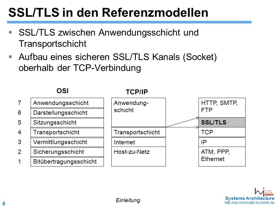 7 May 2006 - 7 Systems Architecture http://sar.informatik.hu-berlin.de Bestandteile des SSL/TLS Protokolls TCP Record Layer Hand- shake HTTP (oder andere Anwendungsprotokolle) Change Chipher Alert Einleitung