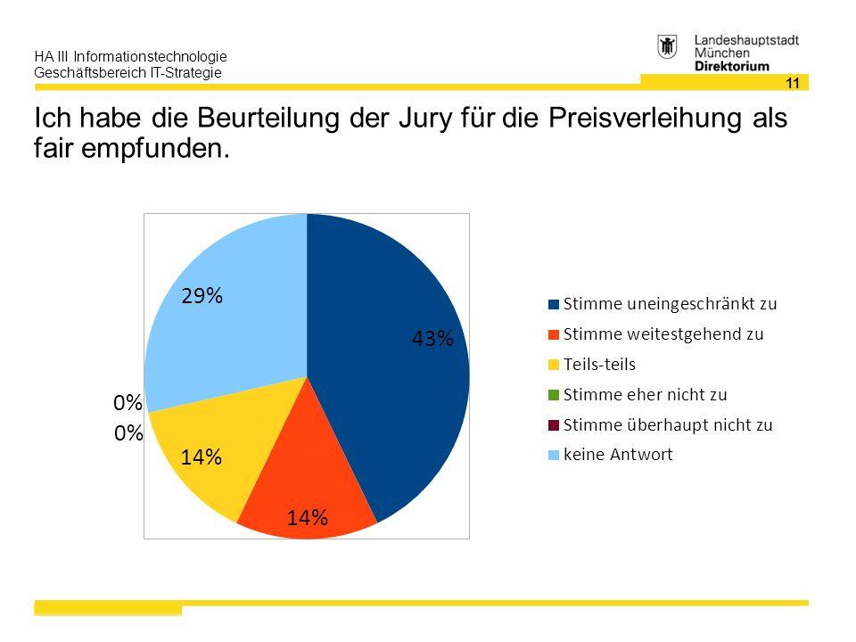 11 HA III Informationstechnologie Geschäftsbereich IT-Strategie Ich habe die Beurteilung der Jury für die Preisverleihung als fair empfunden.