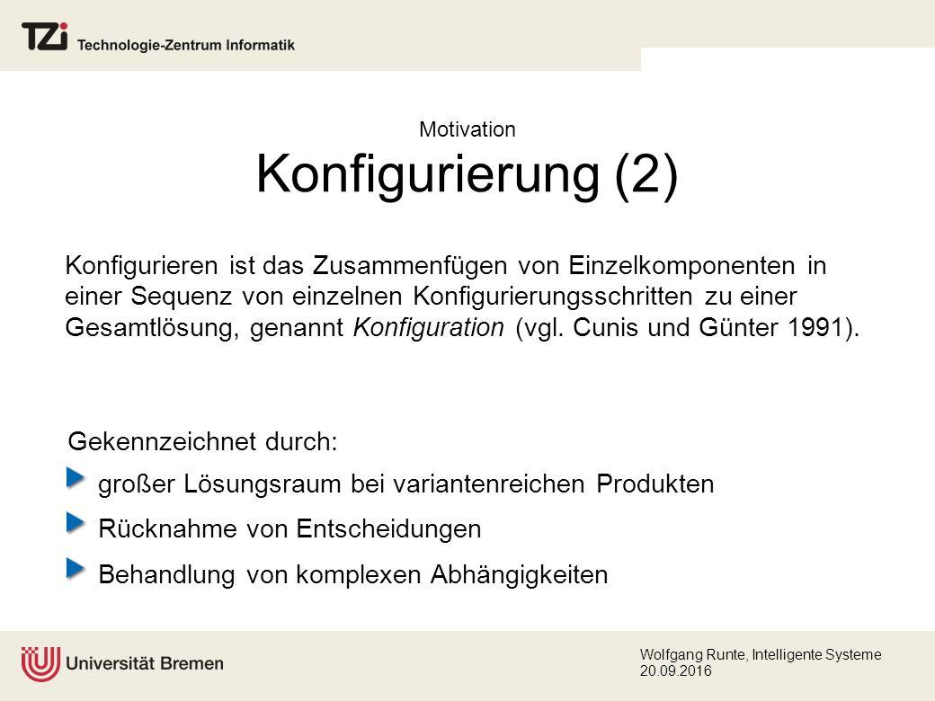 Wolfgang Runte, Intelligente Systeme 20.09.2016 CSP – Definition Ein Constraint Satisfaction Problem (CSP) ist ein Tripel CSP(V,D,C): V = {v 1,...,v n } endliche Menge Variablen D = {D 1,..., D n } assoziierte Wertebereiche {v 1 : D 1,...,v n : D n } C endliche Menge Constraints c i (V i ), i  {1,..., m}, c i (V i ) setzt Teilmenge V i = {v i 1,..., v i k }  V in Relation, Lösungsraum für c i (V i ): {D i 1 ...