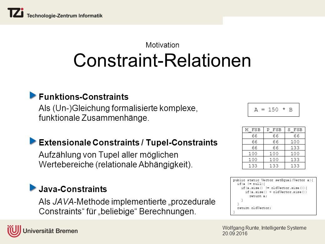 Wolfgang Runte, Intelligente Systeme 20.09.2016 Funktions-Constraints Als (Un-)Gleichung formalisierte komplexe, funktionale Zusammenhänge.