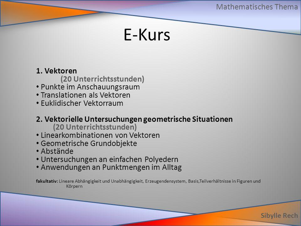 E-Kurs Sibylle Rech Mathematisches Thema 1. Vektoren (20 Unterrichtsstunden) Punkte im Anschauungsraum Translationen als Vektoren Euklidischer Vektorr