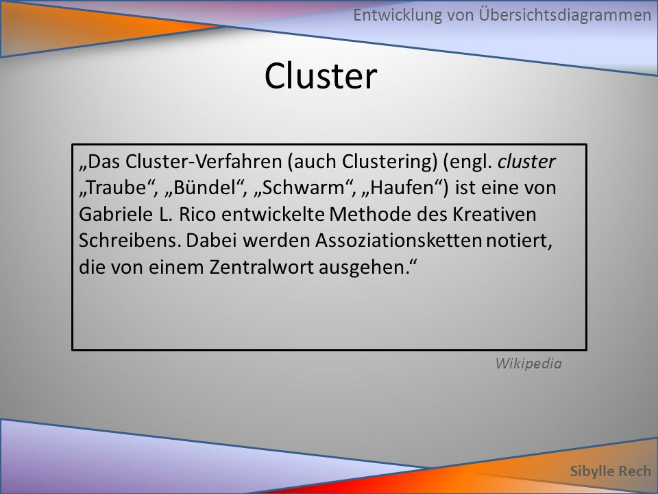 """Cluster Sibylle Rech Entwicklung von Übersichtsdiagrammen """"Das Cluster-Verfahren (auch Clustering) (engl. cluster """"Traube"""", """"Bündel"""", """"Schwarm"""", """"Hauf"""