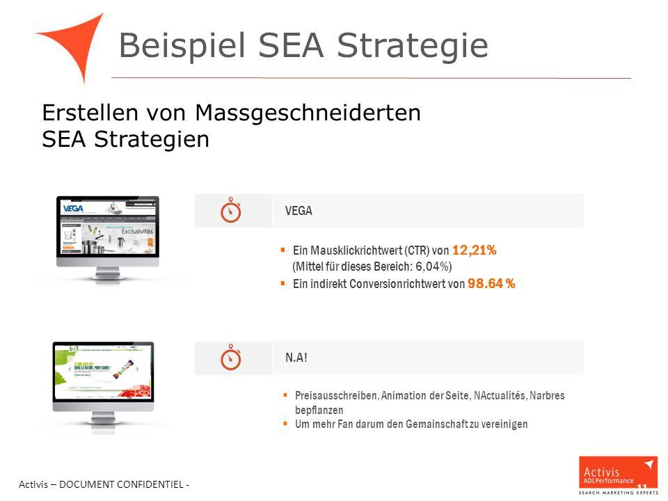 Beispiel SEA Strategie Activis – DOCUMENT CONFIDENTIEL - 11 Erstellen von Massgeschneiderten SEA Strategien VEGA  Ein Mausklickrichtwert (CTR) von 12,21% (Mittel für dieses Bereich: 6,04%)  Ein indirekt Conversionrichtwert von 98.64 % N.A.