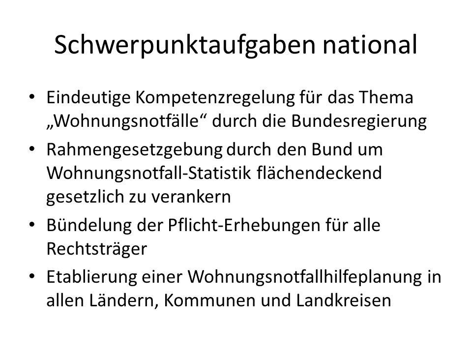 """Schwerpunktaufgaben national Eindeutige Kompetenzregelung für das Thema """"Wohnungsnotfälle"""" durch die Bundesregierung Rahmengesetzgebung durch den Bund"""