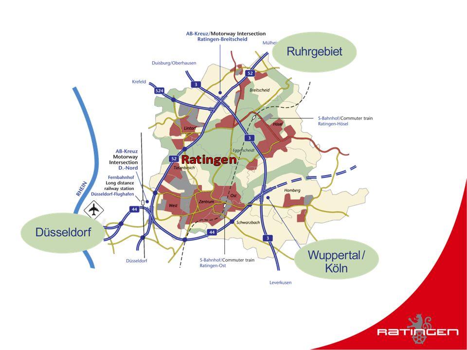 Ratingen verbindet … 4.000 Unternehmen mit der Welt Rhein mit Ruhr große Bildungschancen mit kleinen Abgaben Industriegeschichte mit IT und Hightech Autobahnen mit Altstadtflair Konzerne mit Konzerten Tradition mit Innovation