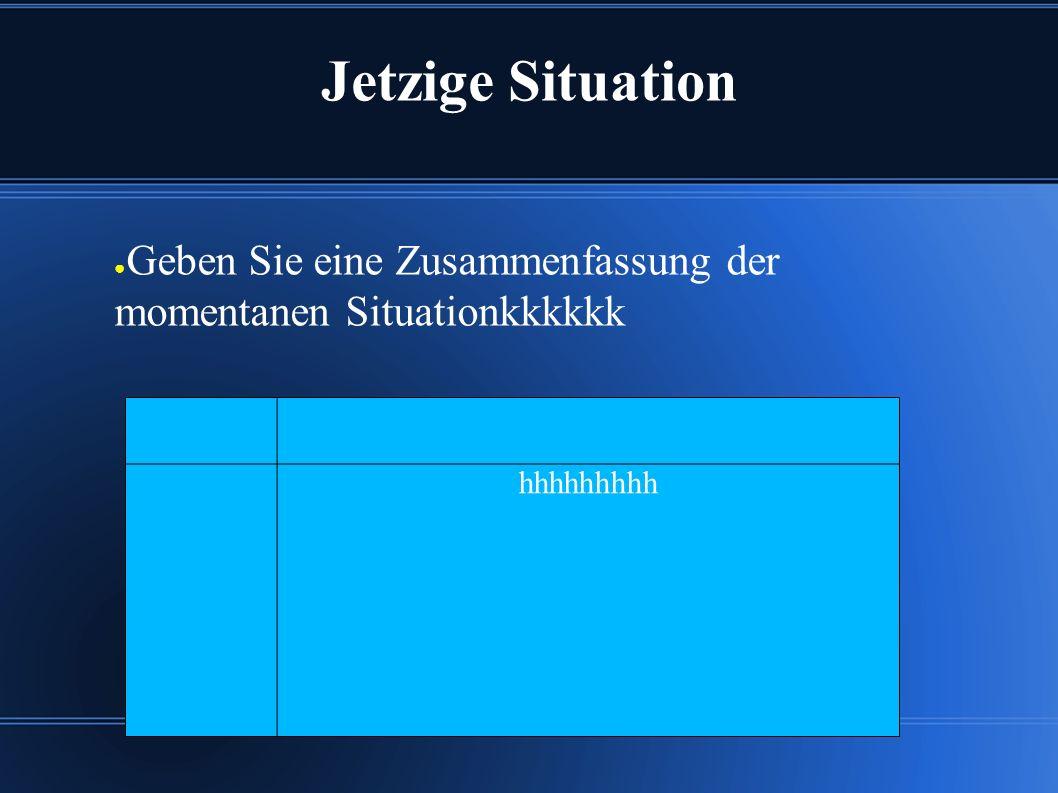 Jetzige Situation ● Geben Sie eine Zusammenfassung der momentanen Situationkkkkkk hhhhhhhhh