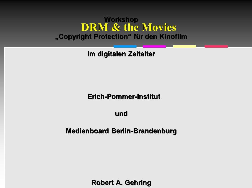 Informatik & Gesellschaft - TU Berlin – 2005 - DCI-Sicherheit/DRM 4 DCI-DRM enthält: – Screen Management System (SMS) – Security Manager (SM) – per Projektor – Ausrüstung (z.B.