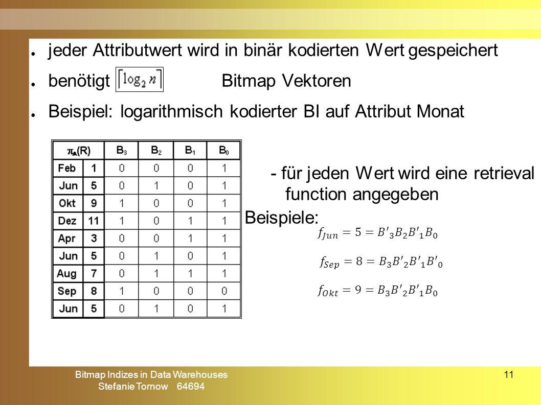 Bitmap Indizes in Data Warehouses Stefanie Tornow 64694 11 ● jeder Attributwert wird in binär kodierten Wert gespeichert ● benötigtBitmap Vektoren ● B