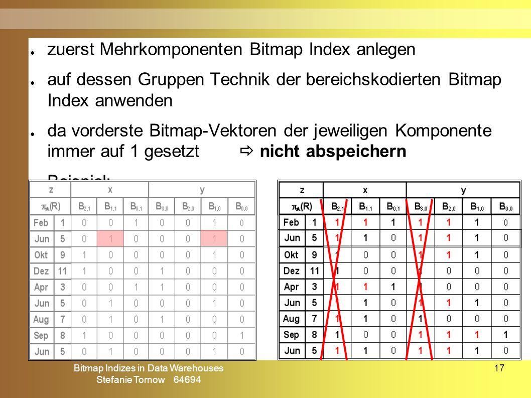 Bitmap Indizes in Data Warehouses Stefanie Tornow 64694 17 ● zuerst Mehrkomponenten Bitmap Index anlegen ● auf dessen Gruppen Technik der bereichskodierten Bitmap Index anwenden ● da vorderste Bitmap-Vektoren der jeweiligen Komponente immer auf 1 gesetzt  nicht abspeichern ● Beispiel: Mehrkomponenten-bereichskodierter Bitmap Index