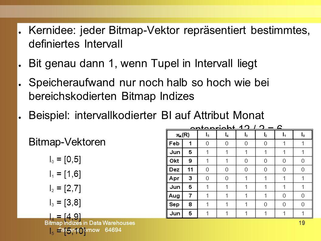 Bitmap Indizes in Data Warehouses Stefanie Tornow 64694 19 ● Kernidee: jeder Bitmap-Vektor repräsentiert bestimmtes, definiertes Intervall ● Bit genau