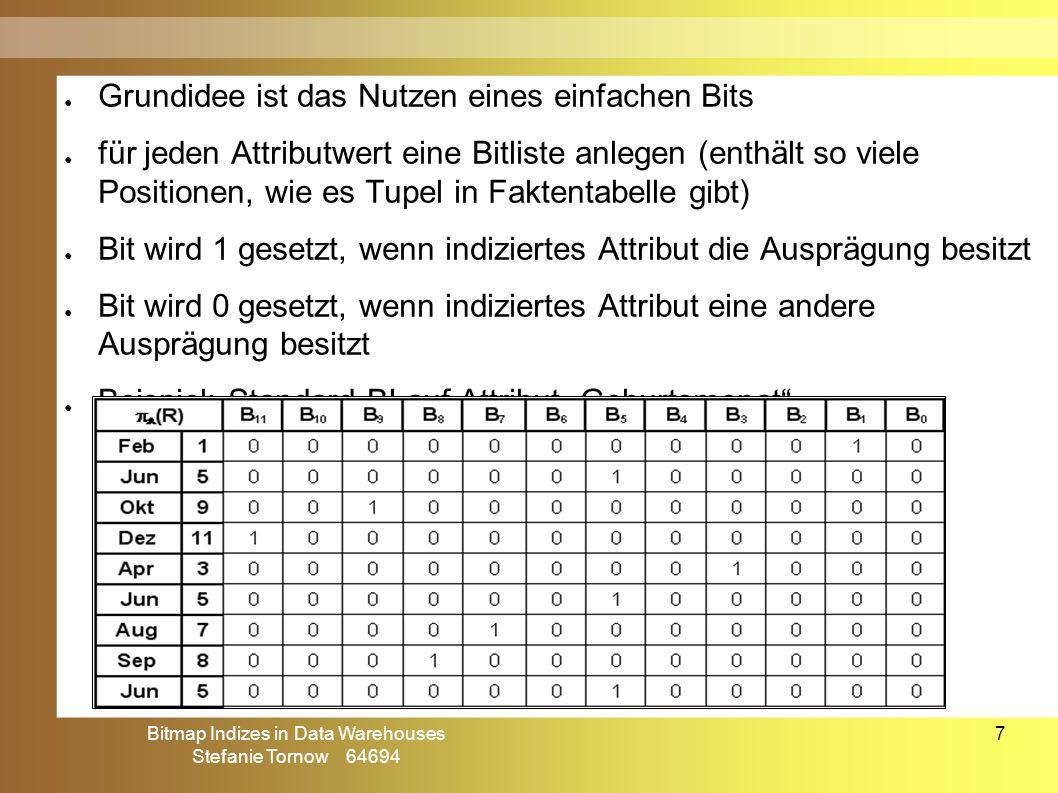 """Bitmap Indizes in Data Warehouses Stefanie Tornow 64694 7 ● Grundidee ist das Nutzen eines einfachen Bits ● für jeden Attributwert eine Bitliste anlegen (enthält so viele Positionen, wie es Tupel in Faktentabelle gibt) ● Bit wird 1 gesetzt, wenn indiziertes Attribut die Ausprägung besitzt ● Bit wird 0 gesetzt, wenn indiziertes Attribut eine andere Ausprägung besitzt ● Beispiel: Standard BI auf Attribut """"Geburtsmonat Standard Bitmap Index (I)"""