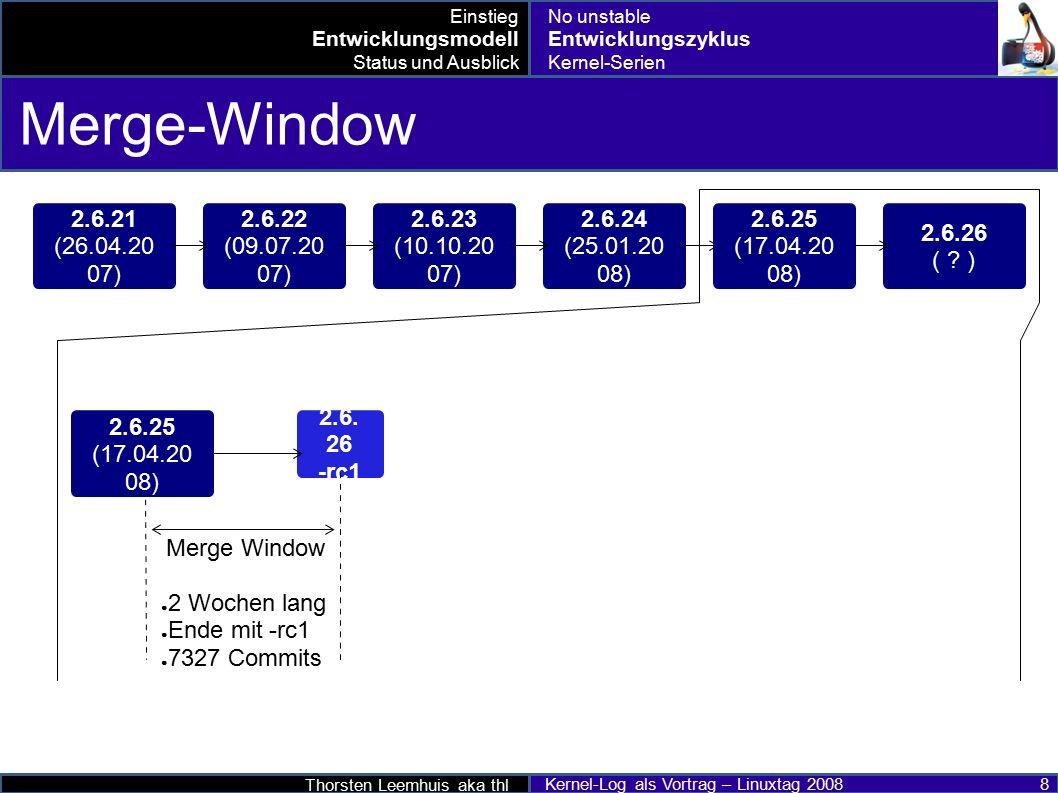 Thorsten Leemhuis aka thl Kernel-Log als Vortrag – Linuxtag 2008 9 Stabilisierungsphase 2.6.21 (26.04.20 07) 2.6.22 (09.07.20 07) 2.6.23 (10.10.20 07) 2.6.24 (25.01.20 08) 2.6.26 ( .