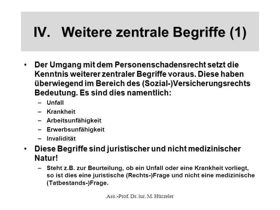 IV.Weitere zentrale Begriffe (1) Der Umgang mit dem Personenschadensrecht setzt die Kenntnis weiterer zentraler Begriffe voraus.