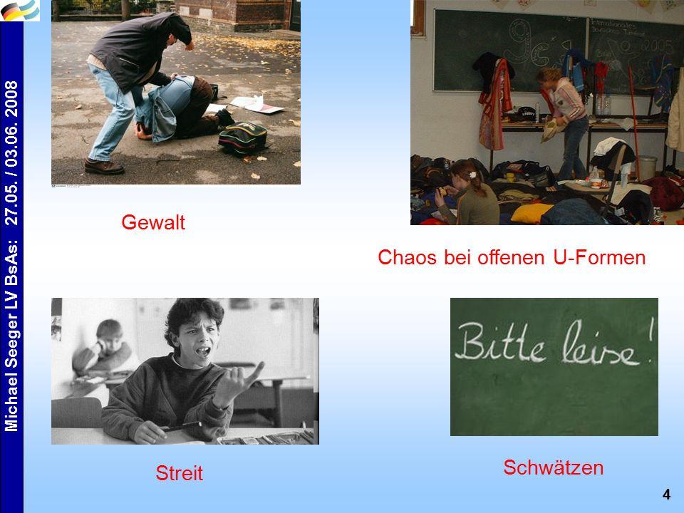 4 Michael Seeger LV BsAs: 27.05. / 03.06. 2008 Gewalt Streit Chaos bei offenen U-Formen Schwätzen
