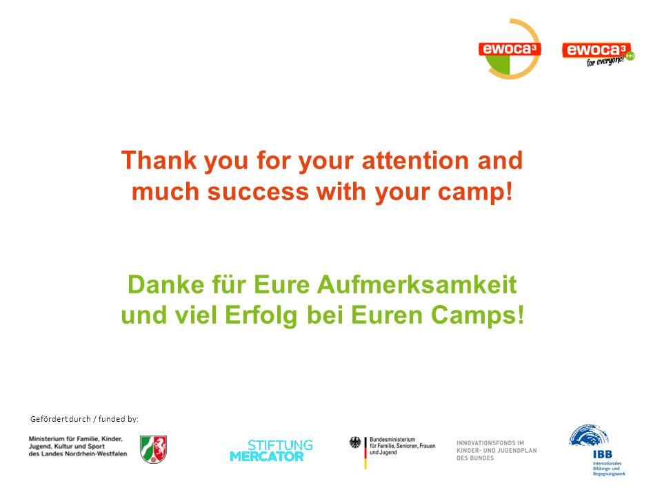 Gefördert durch / funded by: Thank you for your attention and much success with your camp! Danke für Eure Aufmerksamkeit und viel Erfolg bei Euren Cam