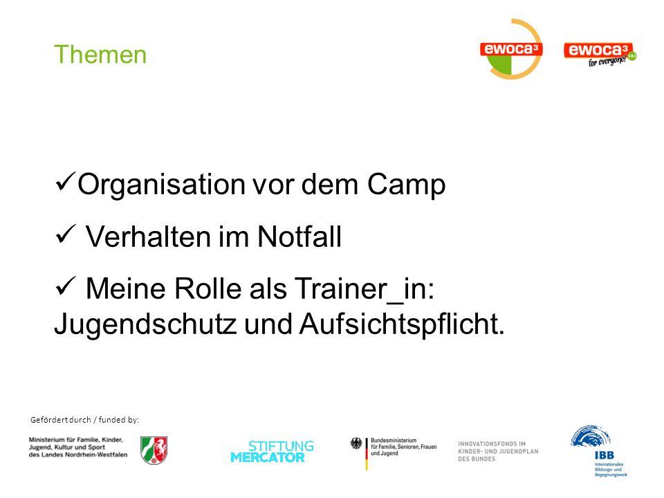 Gefördert durch / funded by: Themen Organisation vor dem Camp Verhalten im Notfall Meine Rolle als Trainer_in: Jugendschutz und Aufsichtspflicht.