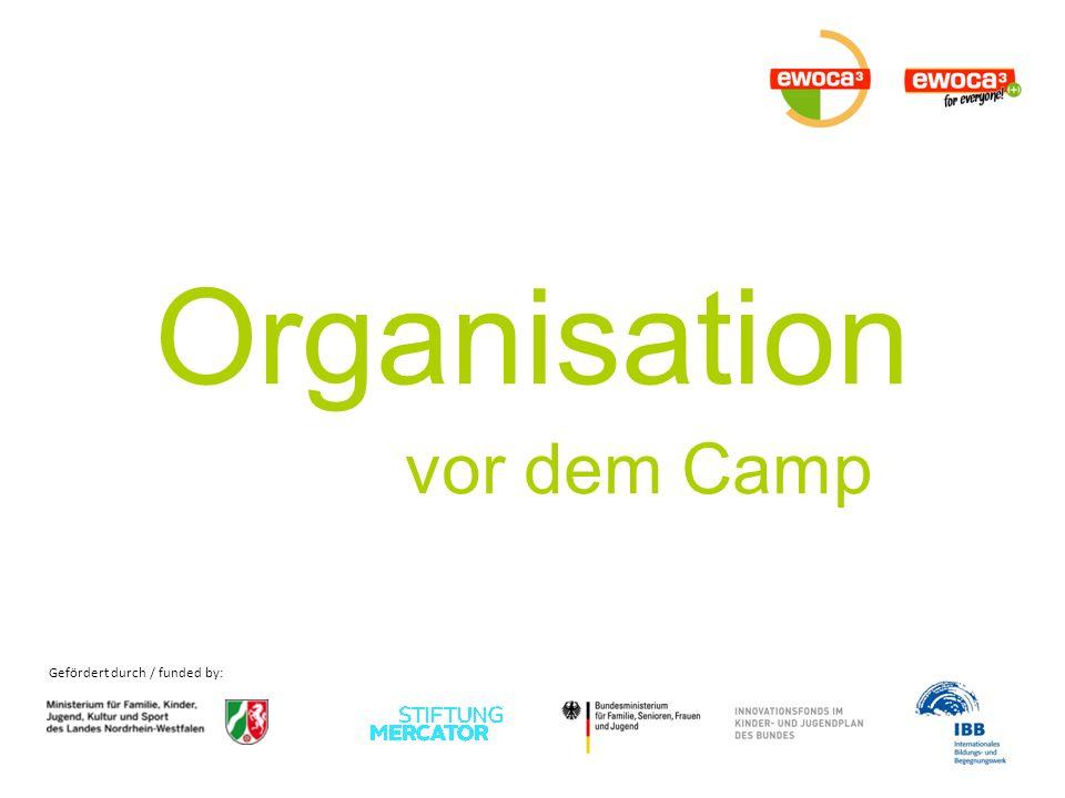 Gefördert durch / funded by: Organisation vor dem Camp -> Versicherungen Welche Versicherungen benötigen wir für die Visa.