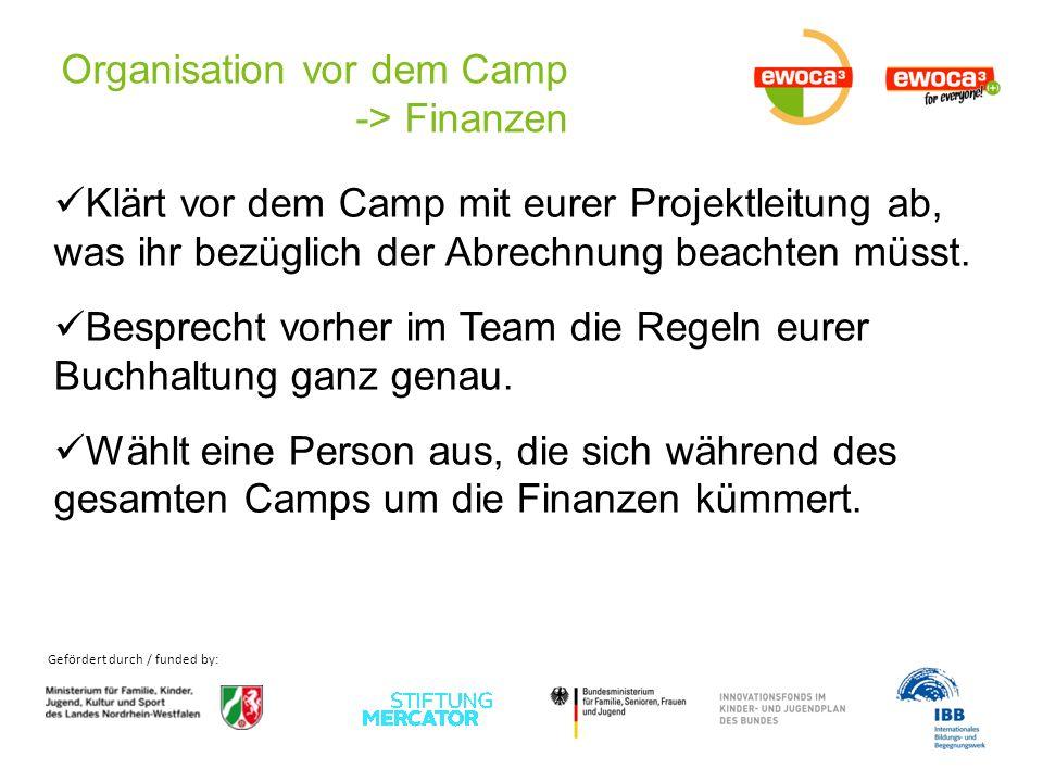 Gefördert durch / funded by: Organisation vor dem Camp -> Finanzen Klärt vor dem Camp mit eurer Projektleitung ab, was ihr bezüglich der Abrechnung beachten müsst.