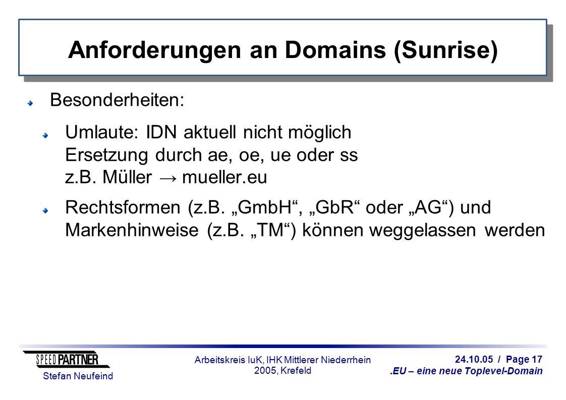 24.10.05 / Page 17.EU – eine neue Toplevel-Domain Stefan Neufeind Arbeitskreis IuK, IHK Mittlerer Niederrhein 2005, Krefeld Anforderungen an Domains (