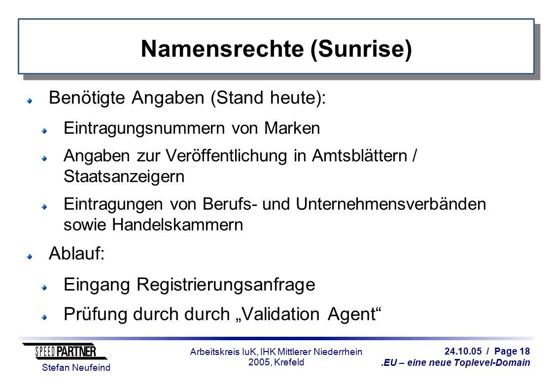 24.10.05 / Page 18.EU – eine neue Toplevel-Domain Stefan Neufeind Arbeitskreis IuK, IHK Mittlerer Niederrhein 2005, Krefeld Namensrechte (Sunrise) Ben