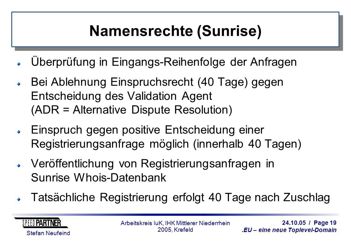 24.10.05 / Page 19.EU – eine neue Toplevel-Domain Stefan Neufeind Arbeitskreis IuK, IHK Mittlerer Niederrhein 2005, Krefeld Namensrechte (Sunrise) Übe
