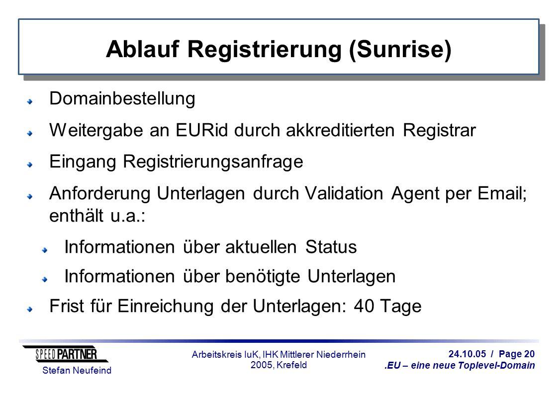 24.10.05 / Page 20.EU – eine neue Toplevel-Domain Stefan Neufeind Arbeitskreis IuK, IHK Mittlerer Niederrhein 2005, Krefeld Ablauf Registrierung (Sunr