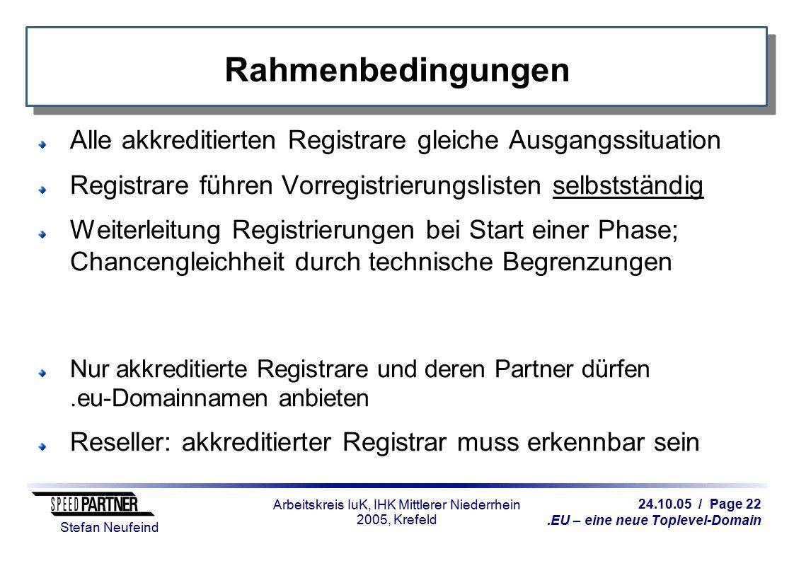 24.10.05 / Page 22.EU – eine neue Toplevel-Domain Stefan Neufeind Arbeitskreis IuK, IHK Mittlerer Niederrhein 2005, Krefeld Rahmenbedingungen Alle akkreditierten Registrare gleiche Ausgangssituation Registrare führen Vorregistrierungslisten selbstständig Weiterleitung Registrierungen bei Start einer Phase; Chancengleichheit durch technische Begrenzungen Nur akkreditierte Registrare und deren Partner dürfen.eu-Domainnamen anbieten Reseller: akkreditierter Registrar muss erkennbar sein