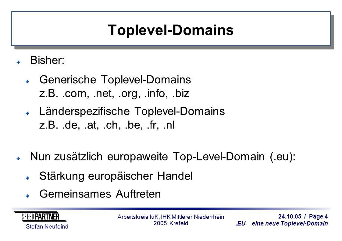 24.10.05 / Page 4.EU – eine neue Toplevel-Domain Stefan Neufeind Arbeitskreis IuK, IHK Mittlerer Niederrhein 2005, Krefeld Toplevel-Domains Bisher: Ge