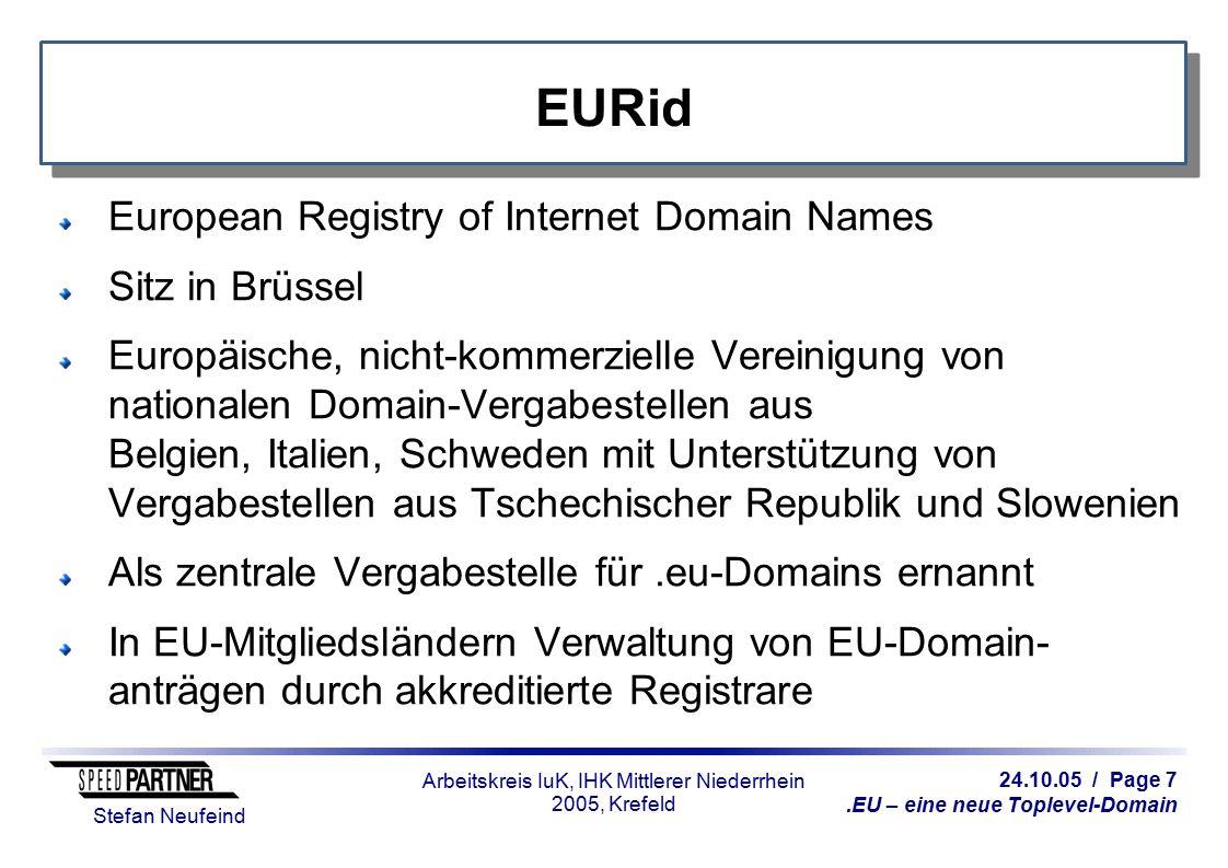 24.10.05 / Page 7.EU – eine neue Toplevel-Domain Stefan Neufeind Arbeitskreis IuK, IHK Mittlerer Niederrhein 2005, Krefeld European Registry of Intern
