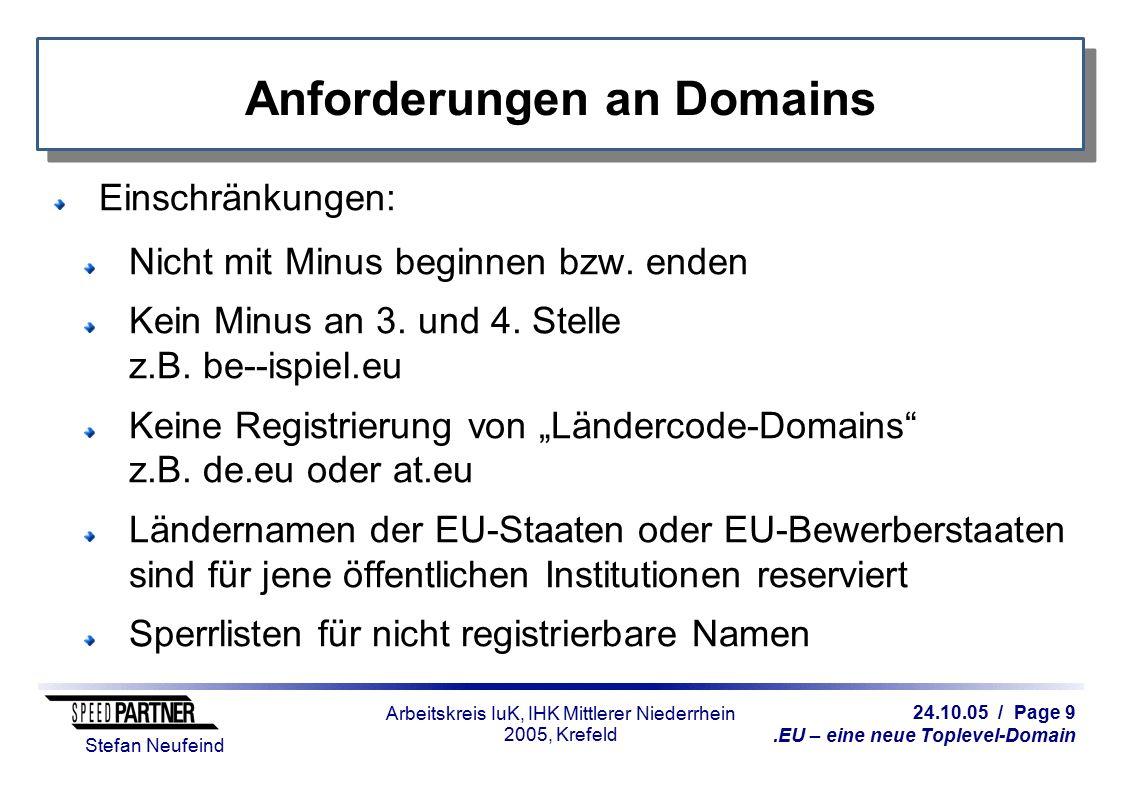 24.10.05 / Page 9.EU – eine neue Toplevel-Domain Stefan Neufeind Arbeitskreis IuK, IHK Mittlerer Niederrhein 2005, Krefeld Anforderungen an Domains Ei