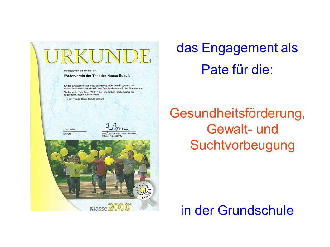das Engagement als Pate für die: Gesundheitsförderung, Gewalt- und Suchtvorbeugung in der Grundschule