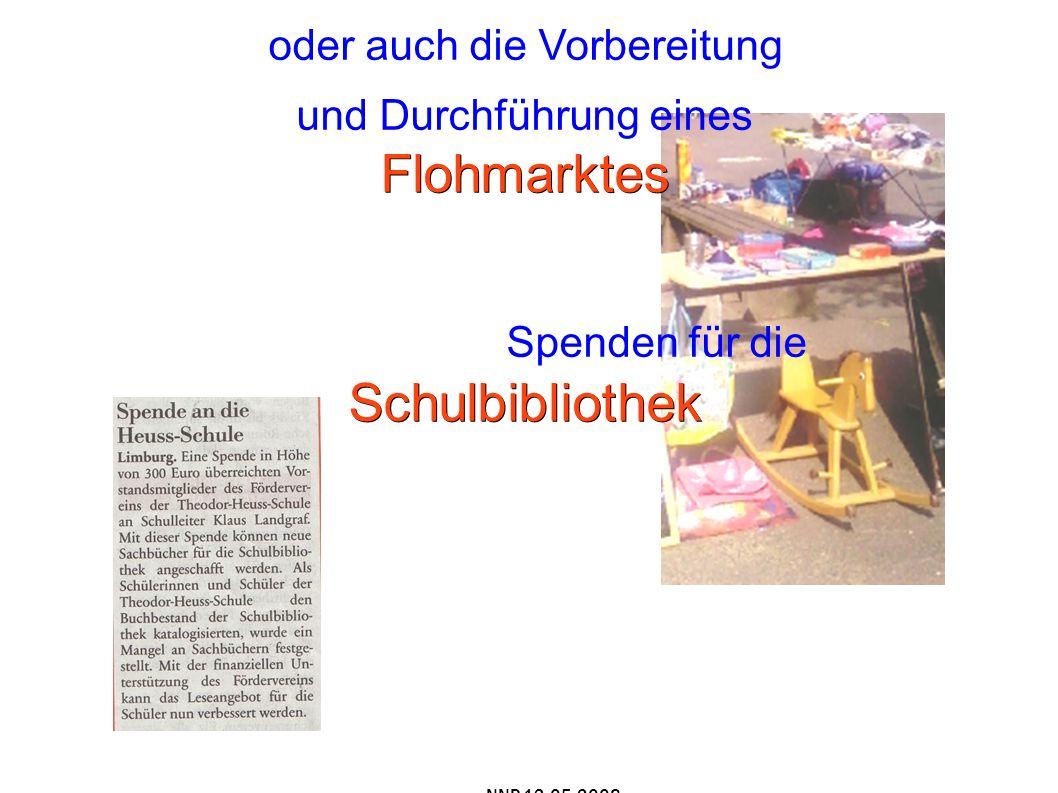 oder auch die Vorbereitung Flohmarktes und Durchführung eines Flohmarktes Schulbibliothek Spenden für die Schulbibliothek NNP 13.05.2008