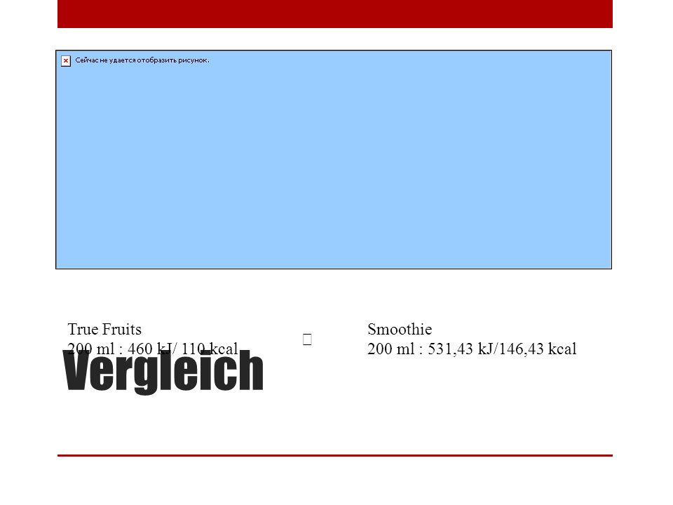 Vergleich True Fruits 200 ml : 460 kJ/ 110 kcal Smoothie 200 ml : 531,43 kJ/146,43 kcal 