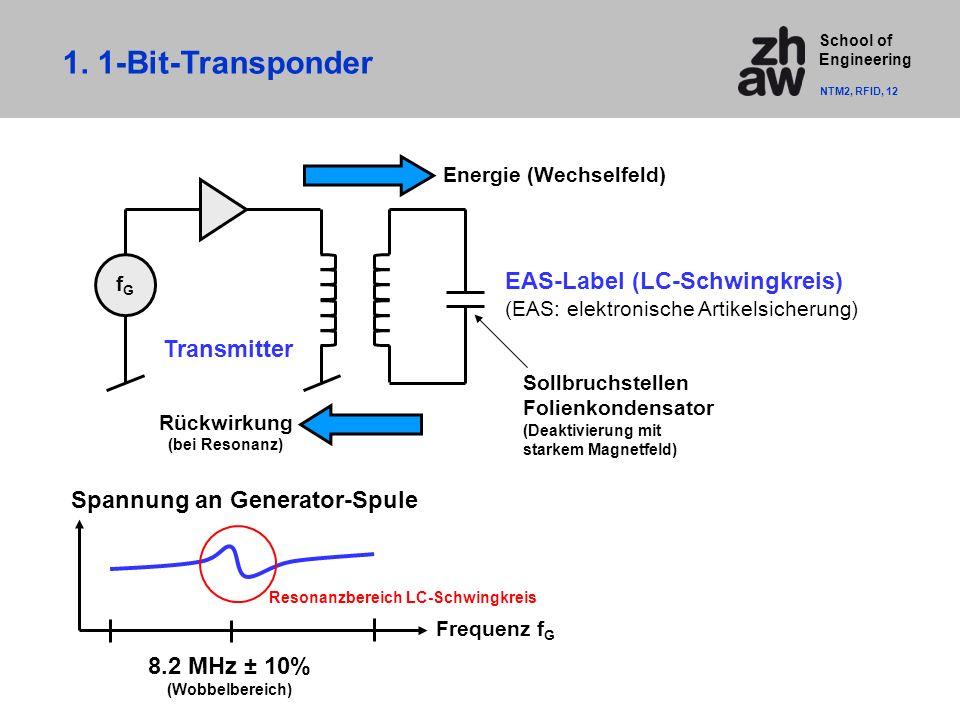 School of Engineering Frequenz f G Spannung an Generator-Spule fGfG EAS-Label (LC-Schwingkreis) (EAS: elektronische Artikelsicherung) Transmitter Energie (Wechselfeld) Rückwirkung (bei Resonanz) 8.2 MHz ± 10% (Wobbelbereich) Sollbruchstellen Folienkondensator (Deaktivierung mit starkem Magnetfeld) 1.
