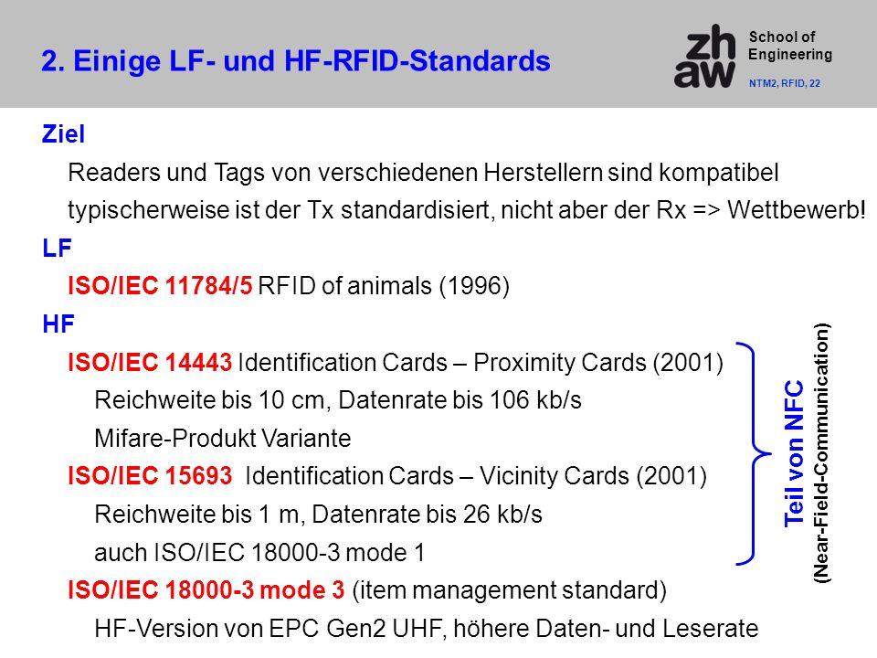 School of Engineering Ziel Readers und Tags von verschiedenen Herstellern sind kompatibel typischerweise ist der Tx standardisiert, nicht aber der Rx => Wettbewerb.