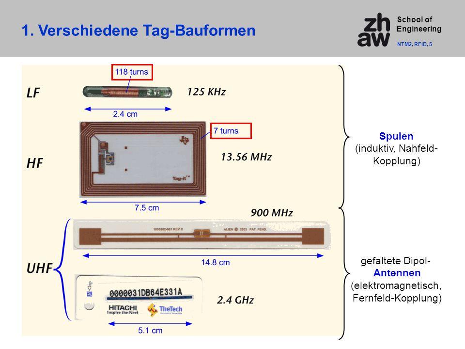 School of Engineering Spulen (induktiv, Nahfeld- Kopplung) gefaltete Dipol- Antennen (elektromagnetisch, Fernfeld-Kopplung) 1.