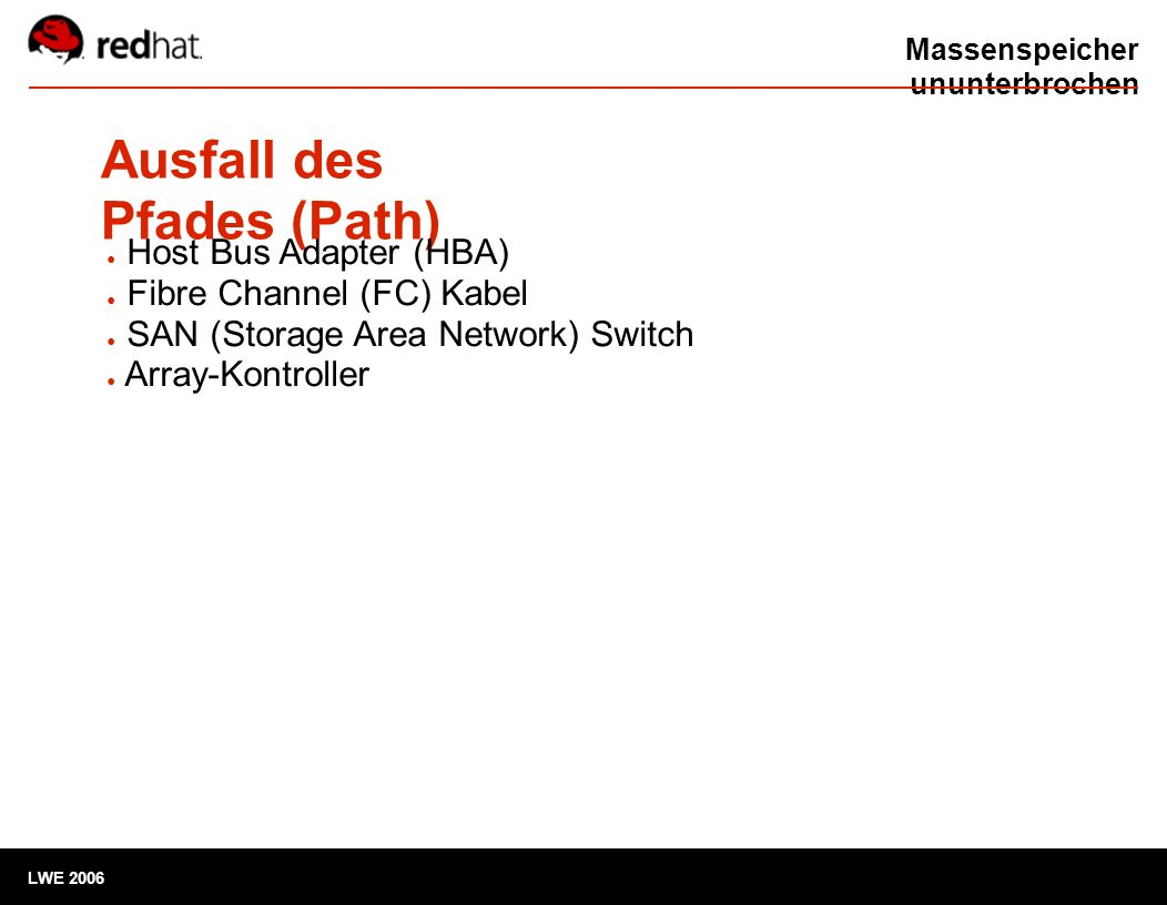 Massenspeicher ununterbrochen Ausfall des Pfades (Path) LWE 2006 ● Host Bus Adapter (HBA) ● Fibre Channel (FC) Kabel ● SAN (Storage Area Network) Swit