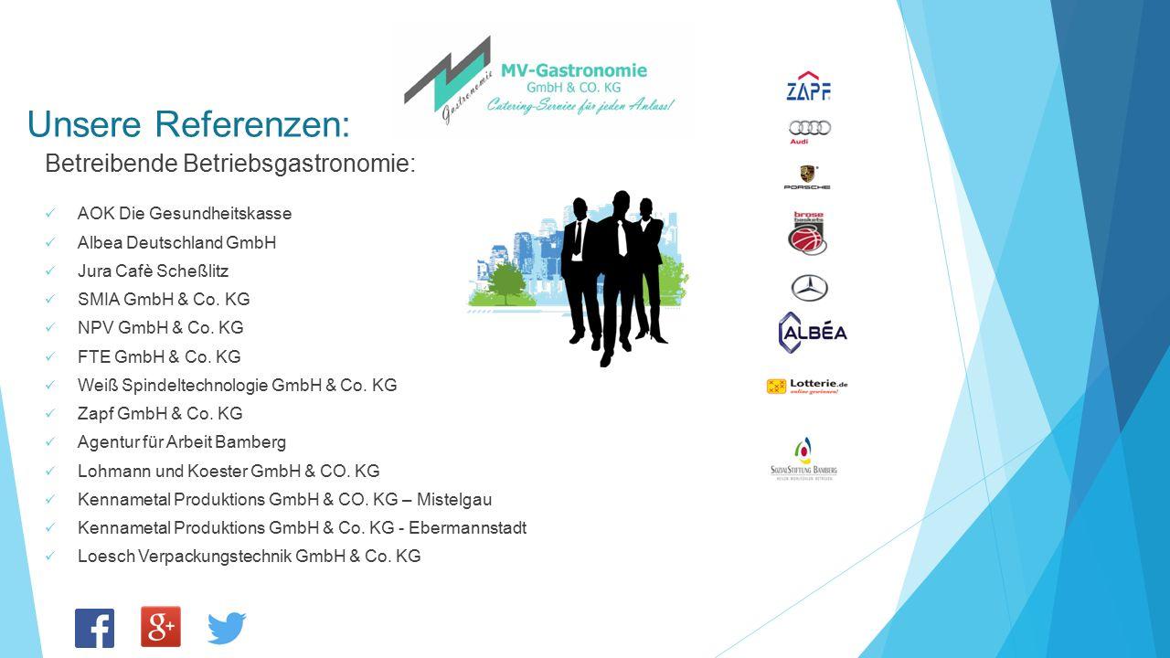 Unsere Referenzen: Betreibende Betriebsgastronomie: AOK Die Gesundheitskasse Albea Deutschland GmbH Jura Cafè Scheßlitz SMIA GmbH & Co. KG NPV GmbH &