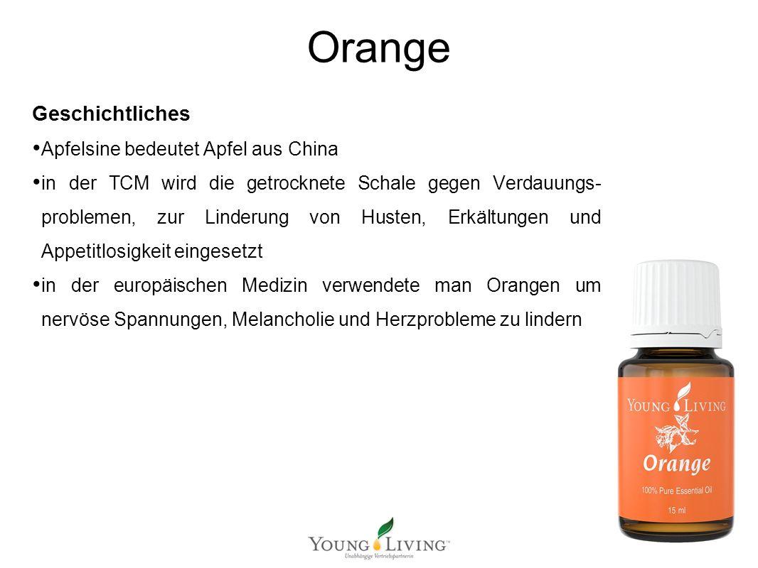 Geschichtliches Apfelsine bedeutet Apfel aus China in der TCM wird die getrocknete Schale gegen Verdauungs- problemen, zur Linderung von Husten, Erkäl