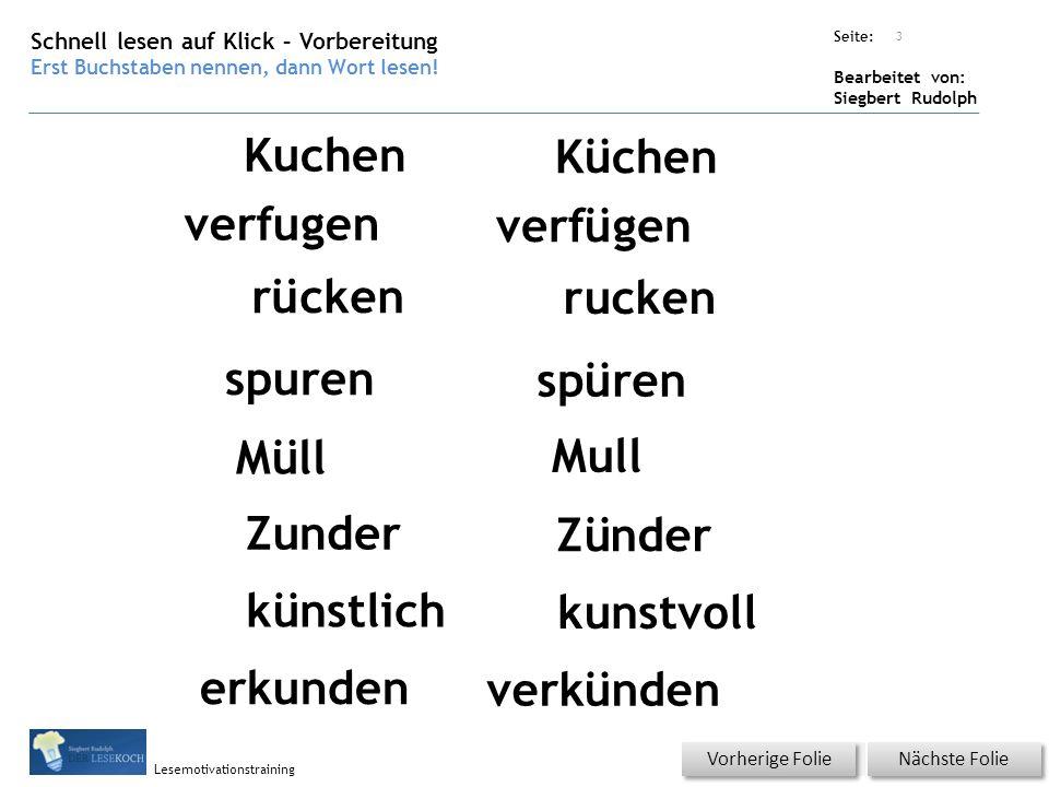 Übungsart: Seite: Bearbeitet von: Siegbert Rudolph Lesemotivationstraining Schnell lesen auf Klick – Vorbereitung Erst Buchstaben nennen, dann Wort lesen.