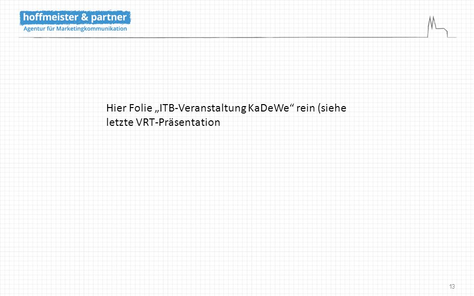 """13 Hier Folie """"ITB-Veranstaltung KaDeWe"""" rein (siehe letzte VRT-Präsentation"""